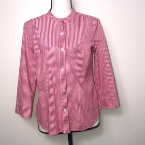 Talbots Red Check 3/4 Sleeve Gingham Button down S